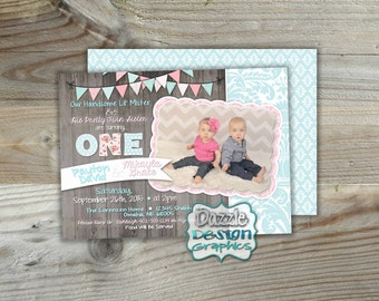 Twins birthday party siblings invitation boy or girl puppy printable shabby chic twins birthday invitation boy girl shabby invite handsome mister pretty twin filmwisefo Gallery