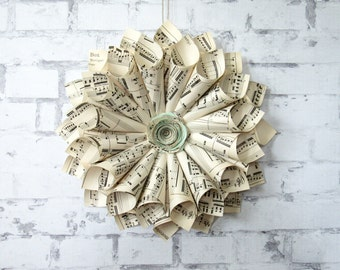 Sheet Music Wreath - Sage Green - Music Teacher Gift - Piano Player Gift - Book Wreath