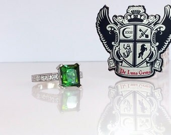3.9 ctw Blue Green Tourmaline & Diamond Ring in 14K White Gold Rare Natural Indicolite Engagement Ring / Free Shipping / De Luna Gems