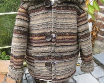 super warm kidsjacket with Hodd from brushed knit-wool