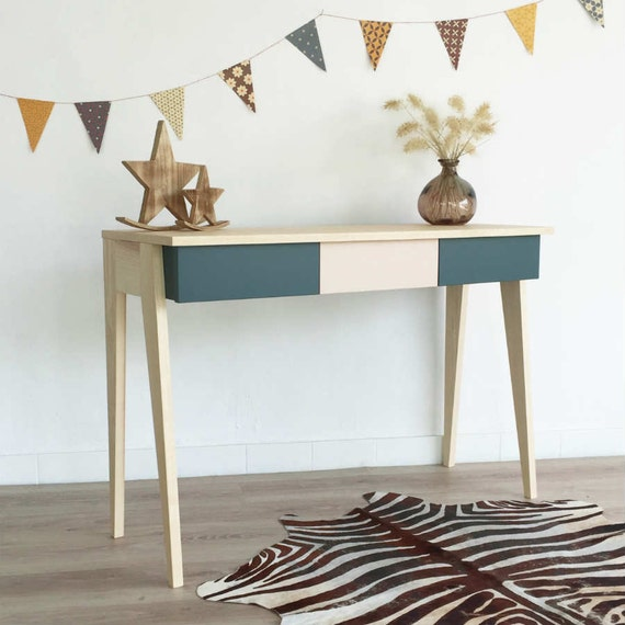 Bureau table de travail console bois vintage scandinave for Pied de table scandinave