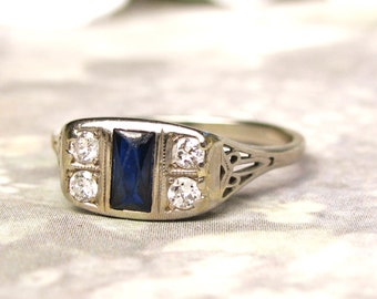 Art Deco Engagement Ring Antique Sapphire & Diamond Wedding Ring 18K White Gold Filigree Antique Engagement Ring!
