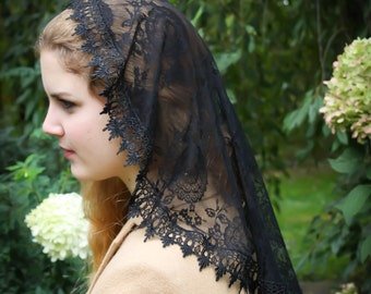 Evintage Veils~ Princess Style Spanish Lace  Traditional Catholic Black  Lace  Mantilla Chapel Veil