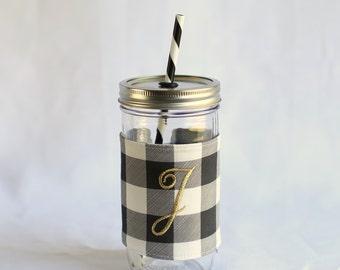 Personalized Tumbler, Monogrammed Tumbler, Personalized Cup, Monogram Cup, Personalized Gift, Monogram Gift, Black White Tumbler, Plaid