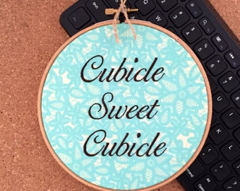 Cubicle Sweet Cubicle Decor - Funny Needlepoint - Coworker Gift - Funny Stitch - Office Work Wife - READY TO SHIP - teal and brown decor
