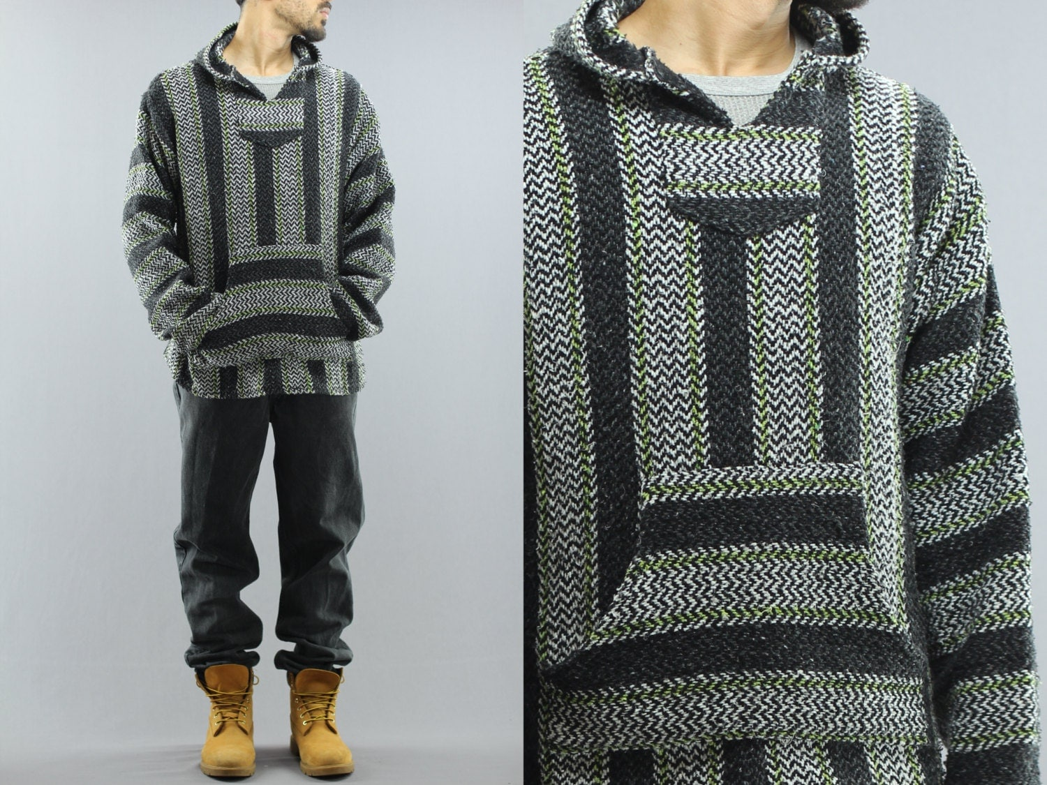 Woven Striped Pullover Baja Hoodie Sweater Unisex Adult
