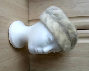 Vintage Real Multi Coloured American Mink Strip Fur Hat by Siberian Furs of Hong Kong H40
