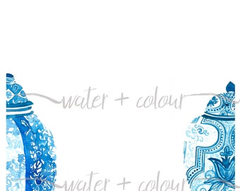 Downloadable watercolor ginger jars border