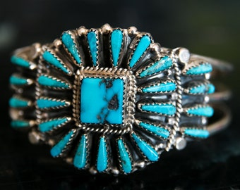 Vintage Old Pawn Tommy Lowe Navajo Sterling Silver Turquoise Cuff Bracelet