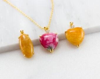 Gold Jade Pendant/ Orange Jade Pendant/ Pink Jade Pendant/ Carved Jade Pendant/ Genuine Jade Necklace