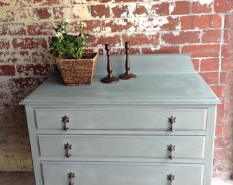 Lovely Vintage Green Painted Chest of Drawers with Petal Drop Handles.