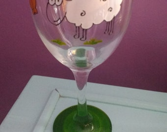 Sheep hand painted on a wine glass, Devon, country animals, England, Personalised, gift,