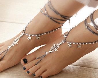 Hamsa Hand Barefoot Sandals, Silver Barefoot Sandles, Gray Crochet Barefoot Sandal, Yoga, Anklet Hippie Shoes, Gypsy