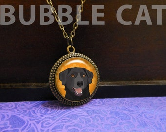 Black Lab Necklace with Orange Flowers, Labrador Retriever, Smiling dog jewelry, Brown eyes, Copper Brass Decorative Border Frame Medallion
