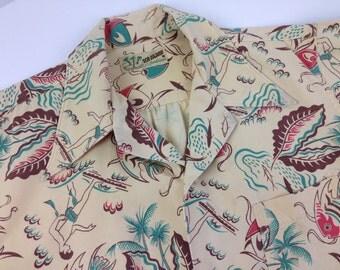 1940's Cabana Shirt in a Tropical Pattern /Sea Island Sportswear / ALOHA / Men's Medium