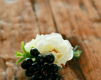 White Blossom and Berry Boutonniere - Silk Boutonniere