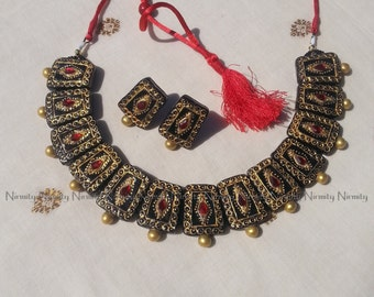 Choker terracotta jewelry-Temple jewelry necklace set- traditional--terracotta jewellry-color options available