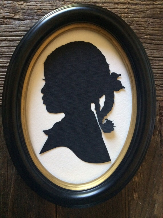 Oval framed custom hand cut silhouette wall decor wall - Oval wall decor ...