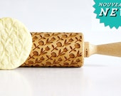 ROSES & TULIPS  Embossing rolling pin, laser engraved rolling pin