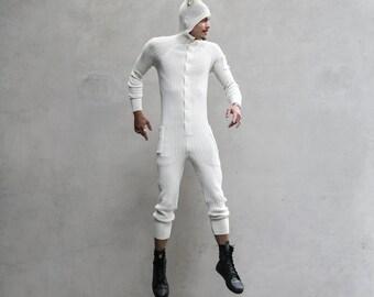 WHITE BUNNY Festival Onesie for Men & Women - Blamo Hand Knit Pajamas with Pockets- Adult Rabbit One Piece Long Johns - Unisex Kigurumi