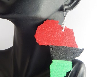 Africa Earrings Large Africa Jewelry Wood African Earrings African Jewelry Red Black Green Natural Wood Earrings Natural Hair Jewelry Ethnic