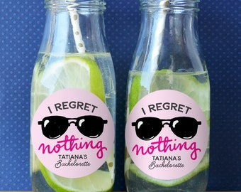 I Regret Nothing - Bachelorette Party Stickers - Bachelorette Party Labels - Bachelorette Stickers - Bachelorette Labels - Set of 12