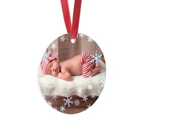 Personalized Photo Christmas Ornament - Picture Ornament, Christmas Gift, Holiday Decor, Mother's Gift, Grandparents Gift, Christmas Argyle