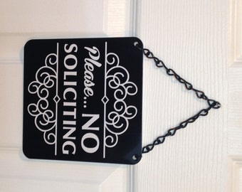 Stylish and Attractive Please No Soliciting Door Sign with Display Chain.