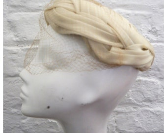 Cream Hat Veil woven criss cross thatched turban