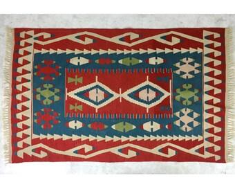 4x6 Vintage Wool Kilim Area Rug Carpet Mid Century 1950's Turkish Flat Weave Textile