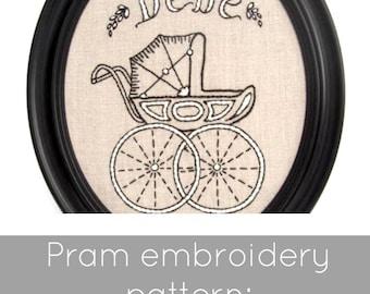 PDF embroidery pattern, pram hand embroidery pattern, baby carriage pattern, pram needlecraft, pram pattern download, DIY hoop art pattern