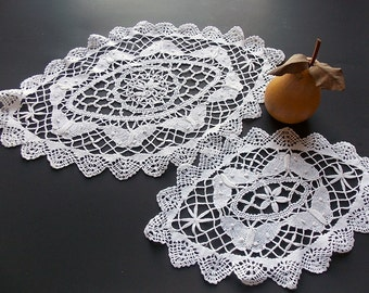 Two Vintage Lace Doilies with 3D Butterflies, Large Oval Butterfly Tray Mats, Dresser Mats, Butterfly Doilies