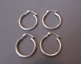 Sterling Silver 18 MM Round Hoop Earrings (2-Pair)