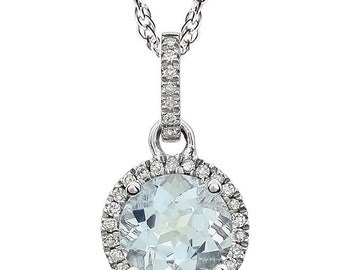 "Diamond Aquamarine Necklace 18"", 14k White Gold Pendant, Handmade"