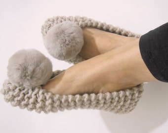 Beige Chunky Slippers, REAL or FAUX Fur Pom Poms, Women's Slippers, Non-Slip Slippers, Ballet Flats, Gift for her, Home Shoes, Knit Slippers