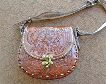 Hand Tooled Leather Handbag, Dark Brown, Boho Chic, Vintage Style, Gift for Her, Bohemian Handbag, Handmade, Hippie Handbag, Gypsy Handbag