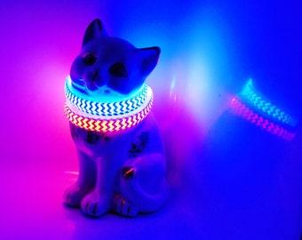 Chevron cat collar lights up in dark; break-away LED safety collars glow, flash & blink w/ colorful zig zag stripes