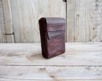 Vintage Leather Cigarette Case, Brown Leather Box Holder, Old Leather Cigarette Case, Embossed leather cigarette case, Gift for Him