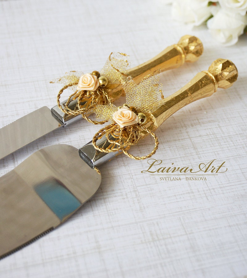 gold wedding cake server set knife cake cutting set wedding