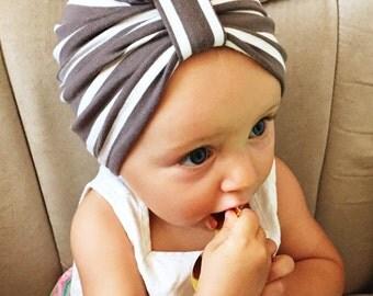 Cocoa Stripe Baby Turban hat
