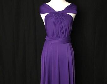 Royal Purple dress,Bridesmaid Dress , Infinity Dress,Knee Length Wrap Convertible Dress.Party dress-B10#