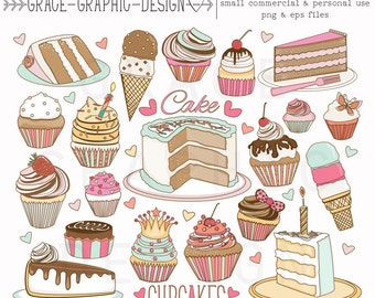 Cake and Ice Cream Clipart set, Hand Illustrated Clipart, Cupcake Clipart, EPS, Small Commercial Use Clipart Set