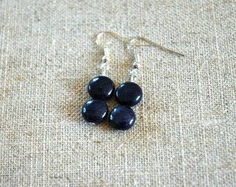 Beautiful Blue Gold Lapis Lazuli Two Button Bead Pendant Earrings - September birthstone