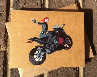 Marvel Avengers Black Widow Comic Book Greeting Card (Blank)