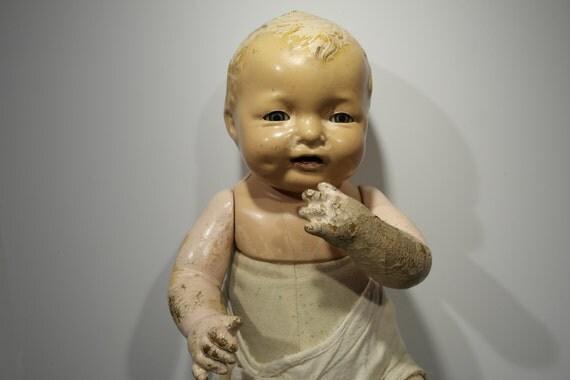 Creepy Antique Composition Effanbee Baby Doll 1924 Talk Walk