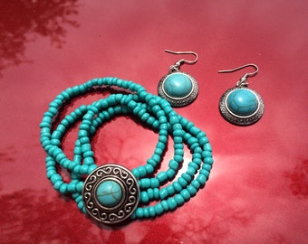 Ocean Inspired Unique Turquoise Bracelet and Earrings Set