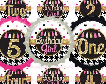 BirthDay Girl Numbers from 1-10 Bottlecap Images w/Free Tshirt Transfer