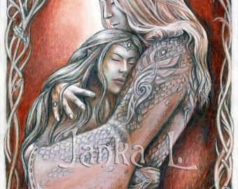 "Undying love - 10,63"" x 7,48"" or 14,96"" x 10,63"" Print, elves, elven art, love"