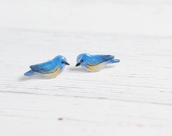 Little Birds Stud Earrings Red-flanked bluetail Orange-flanked bush-robin