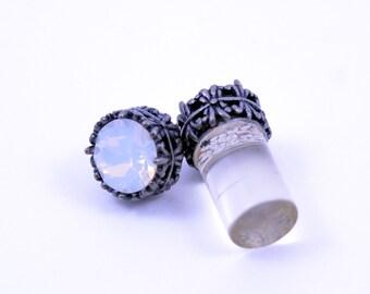 0g 2g 4g 6g 8g 10g 12g Silver filigree White Opal Plugs Made With Swarovski Elements Wedding Bridal Plugs Gauges Tunnels Bridesmaid